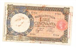 "Italy 50 Lire 1938 ""G-VG"" RARE Banknote P 54b - 50 Lire"