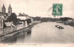 77 MELUN LA SEINE VUE SUR LA PRISON CENTRALE  CIRCULEE 1918 - Melun
