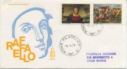 ITALIA - FDC  VENETIA  1970 - RAFFAELLO SANZIO - ARTE - VIAGGIATA PER SAVONA - F.D.C.