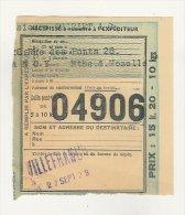 Colis Postaux - SNCF  -  Récipissé De Colis Postal à Remettre à L´ Expéditeur Thiriet à Nancy 1939 - Colis Postaux