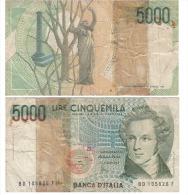 5000 LIRE BD 105826 F - [ 2] 1946-… : République