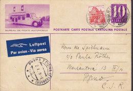 Switzerland Uprated Postal Stationery Ganzsache Intero Luftpost Par Avion Label Automobile ZÜRICH 1938 To PRAG (2 Scans) - Postwaardestukken