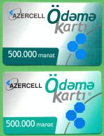 Azerbaijan GSM Prepaid Cards Set - Azercell 2x 500000 Manat /Used,but Like UNC/ Rare OLD - Azerbaïjan