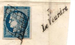 Grd Frgt (1/2 LSC)- N°4 Obl. St Pierre Le Moustier + Cursive 3 / Le Veurdre - 1849-1850 Cérès