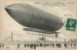 """Réf : Z-13-296  :  Aérostation  : L´aéronef """"Malécot""""  à Issy Les Moulineaux 1908 - Dirigibili"""