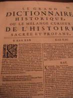 LIBRO  - DIZIONARIO - FRANCESCE - LE GRAND DICTIONNAIRE HISTORIQUE OU LE ME´LAMGE CUTIEUX DE L´HISTOIRE 1746 - Dizionari