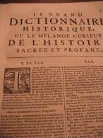 LIBRO  - DIZIONARIO - FRANCESCE - LE GRAND DICTIONNAIRE HISTORIQUE OU LE ME´LAMGE CUTIEUX DE L´HISTOIRE 1749 - Dizionari