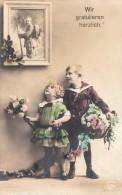 Photocarte Allemande- Patriote- Wir Gratulieren Herzlich 1917 (376/4) (guerre 14-18)TTBE 2scans - War 1914-18