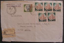 1981 Castello £ 40 400 Coppia Striscia Blocco In Tariffa RACCOMANDATA Castelli D´Italia Busta Lettera Usato - 6. 1946-.. Repubblica
