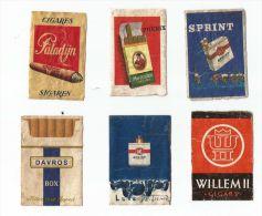 6 étiquettes De Boite D'allumettes Publicitaires Cigares Et Cigarettes - Matchbox Labels