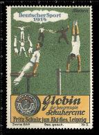 Original German Poster Stamp Cinderella Reklamemarke Vignette Globin Schuhcreme - Turnen Gymnastic Schuhe Footwear Shoes - Gymnastics