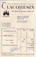 Facture  - CLACQUESIN - 207 Boulevard St GERMAIN - PARIS - 7ème - 1950 - ...