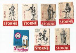 """Boites D'allumettes Belgique - 7 étiquettes De Boites D´allumettes """"Café Storme"""" - Boites D'allumettes - Etiquettes"""