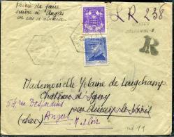 MONACO - N° 233 + 252, SUR LR PROVISOIRE DE MONACO CONDAMINE B LE 22/1/1945, POUR ANGERS - TB & RARE - Marcophilie