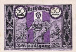 50 HELLER Gutschein Ortsgemeinde Königsau 1920, Bestzustand - Oesterreich