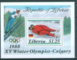 LIBERIA - Block Nr. 112 - Olympische Winterspiele 1988, Calgary Postfrisch - Winter 1988: Calgary
