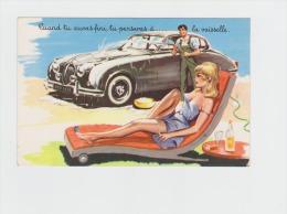 Illustrateur LOUIS CARRIERE - N°1400 PHOTOCHROM Femme Pin´up Décollé Homme Lave Voiture Jaguar MK3 - Carrière, Louis