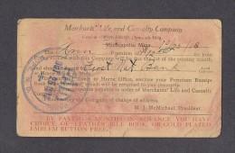 THÈMES AUTRES - MINNEAPOLIS - FIRST NAT. BANK - LIFE INSURANCE NOTICE FOR PREMIUM - ÉCRITE EN 1913 - BEAU TIMBRE - RARE - Autres