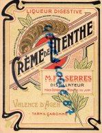82 - VALENCE D' AGEN - CREME DE MENTHE  ETIQUETTE LIQUEUR DIGESTIVE- SERRES DISTILATEUR - Andere Verzamelingen
