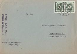 Ost-Sachsen Brief Mef Minr.2x 43A Dresden 3.8.45 - Sowjetische Zone (SBZ)