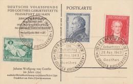 Bizone Sonderkarte Goethe Mif Minr.108-110 SST Frankfurt 28.8.49 - Bizone