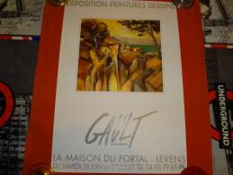 Affiche - Exposition à Levens De Gault Jean Pierre - 1996 - Format 50 X 35 Cm - Posters