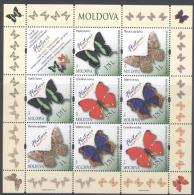 MOLDOVA ,2013 ,MNH,BUTTERFLIES, SHEETLET OF 2 SETS. - Schmetterlinge