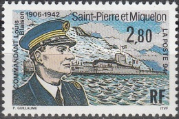 Saint-Pierre & Miquelon 1994 Yvert 592 Neuf ** Cote (2015) 1.65 Euro Commandant Louis Blaison - Neufs