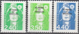 Saint-Pierre & Miquelon 1993 Yvert 587 - 589 Neuf ** Cote (2015) 5.80 Euro Marianne Du Bicentenaire - Neufs