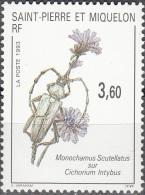 Saint-Pierre & Miquelon 1993 Yvert 575 Neuf ** Cote (2015) 1.70 Euro Insecte Sur Fleur - Neufs