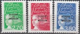 Saint-Pierre & Miquelon 1997 Yvert 650 - 652 Neuf ** Cote (2015) 4.30 Euro Marianne Du 14 Juillet - Neufs
