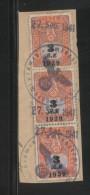 GERMANY 3RD (THIRD) REICH 1939 3M X 3 COURT REVENUE (GERICHTSKOSTENMARKEN) USED KEMPEN WARTHEGAU ON PIECE - Oblitérés