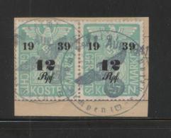 GERMANY 3RD (THIRD) REICH 1939 12RPF PAIR COURT REVENUE (GERICHTSKOSTENMARKEN) USED KEMPEN WARTHEGAU ON PIECE - Oblitérés