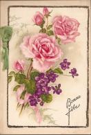 Carte Double Roses Avec Paillettes Et Ruban - Non Classés