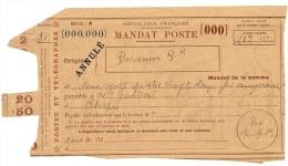LBL24 - MANDAT POSTE DES COURS D'INSTRUCTION DE BESANCON SEPTEMBRE 1923 - Cours D'Instruction