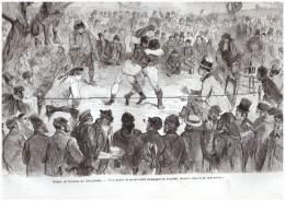 GRAVURE D Epoque    1865.  COMBAT DE BOXE Anglaise  Boxeur  ANGLETERRE - Boksen