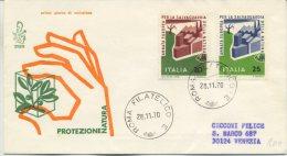 ITALIA - FDC  VENETIA 1970 -  PROTEZIONE DELLA NATURA - VIAGGIATA PER VENEZIA - 6. 1946-.. Repubblica