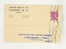 Carton Pli Drogueries Thiriet NANCY Pour Laboratoire Villefranche Sur Saone Flamme Expo Lille - Roubaix 1939 - Marcophilie (Lettres)