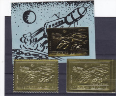 Sharjah 1972, Apollo-Soyouz  Gold Perf.+ Imperf. + S.heet  Complete MNH Superrb,scarce Space Topic SKRILL PAYMENT ONLY - Schardscha