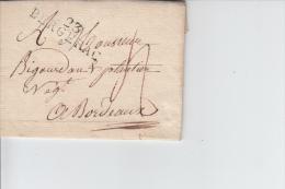MARQUE POSTALE   LAC   DE 23 BERGERAC A BORDEAUX   1811 - Marcophilie (Lettres)