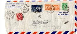 Lettre De Paris 123 (25.08.1949) Pour Les USA_State Foreign Service_Marque De Controle De La C.I.A. - Marcophilie (Lettres)