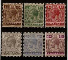 MALTA 1921 - 1922 WATERMARK MULTIPLE SCRIPT CA SET TO 6d SG 97/102 MOUNTED MINT Cat £71 - Malta (...-1964)