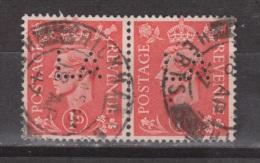 Engeland United Kingdom, Great Britain, Angleterre, Bretagne, King George VI, SG 486, Y&T Used PERFIN LA Paar Pair - 1902-1951 (Koningen)