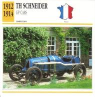 Fiche  -  Early Grand Prix Cars  -  TH Schneider Grand Prix  -  1913  -  Carte De Collection - Cars