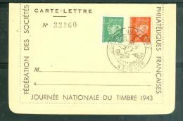 """Carte Llettre """" Journée Du Timbre Avignon En Octobre 1943    - Ad23233 - 1941-42 Pétain"""