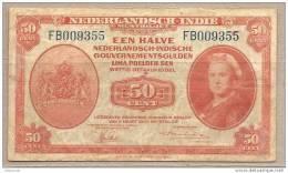 Indie Olandesi - Banconota Circolata Da 50 Centesimi - 1943 - Indie Olandesi