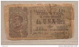Italia - Buono Di Cassa Circolata Da 1 £ - 1917 - Vittorio Emanuele III - [ 5] Schatzamt