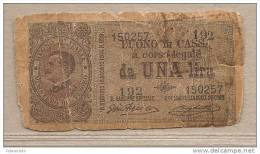 Italia - Buono Di Cassa Circolata Da 1 £ - 1917 - Vittorio Emanuele III - [ 5] Trésor