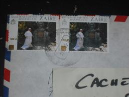 LETTRE CONGO ZAIRE AVEC YT 1282 X 2 - PAPE JEAN PAUL II - - Zaïre