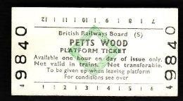 Railway Platform Ticket PETTS WOOD BRB(S) Green Diamond Edmondson - Railway